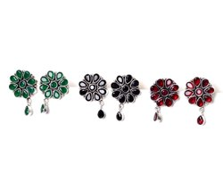 Green Onyx, Black Onyx, Garnet Gemstone Stud  Earrings Jewelry