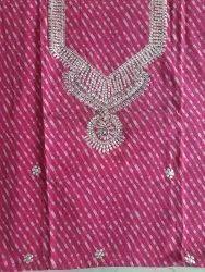 Pink Cotton Unstitched Ladies Kurti