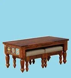 Sheesham Wood Coffee Table With Stools