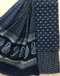Daabu Indigo Printed Cotton Unstitched Suit