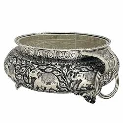 Metal Silver Plated Urli For Decoration & Corporate Gift