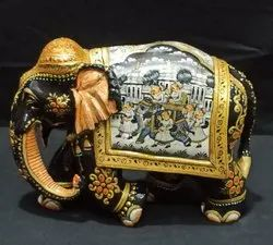 Brown Wooden Painted King Elephant, For Home Decorative