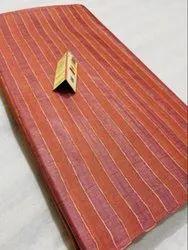 Pure Tussar Silk Striped Woven Running Fabric , Width 46.