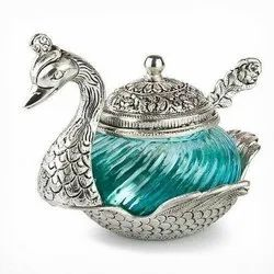 White Metal Silver Plated Glass Duck Bowl For Wedding & Corporate Gift