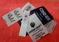 Silver Polyester Custom Printed Labels, For Garments