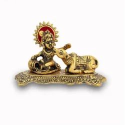 Gold Plated Laddu Gopal Statue Side Cow For Home Decoration & Gifting Purpose
