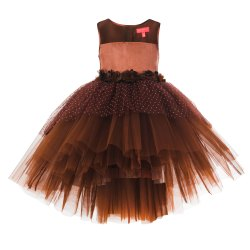 Toy Balloon Kids Party Wear Brown High Low Dress