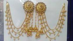 Golden Metal Bridal Chain Earrings
