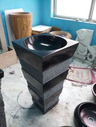 Black and Grey Marble Pedestal Round Wash Basin, For Bathroom