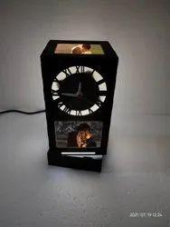 Wooden Black Sublimation Clock Lamp