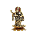 Gold Plated Radha Krishna Statue Standing On Lotus For Home Decoration & Corporate Gift