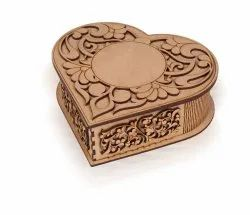 Brown Wooden Heart Shape MDF Chocolate Gift Box