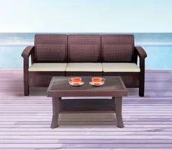 Brown Modern Nilkamal Goa 3 Seater Sofa set, Living Room