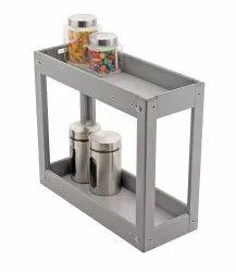 Gray Aluminium Two Shelf Kitchen Rack, Rectangular, Size/Dimension: 2.5 Feet
