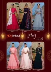 6 Color Georgette Ank Enterprise Long Anarkali Gown Style Collection For Ladies, Size: Free Size