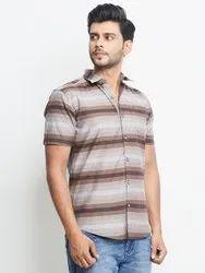 Cotton Round Stylox Men Multicolor Slim Fit Striped Casual Shirt