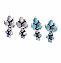 Blue Topaz, Chalcedony Gemstone Earrings Fashion Jewelry