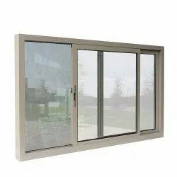 Polished Aluminum Aluminium Glass Sliding Window, For Home