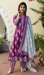 Purple Printed Cotton Suits With Pant And Dupatta Set, For Party Wear