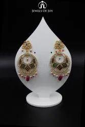 Golden Round Ladies Artificial Earring