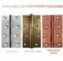 Atlantic Door Butt Hinges 5 inch x 14 Gauge/2 mm Thickness (Stainless Steel, Rose Gold Finish)