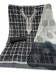 Keyanshi Bust Up to 44inch Mirror Work Cambric Cotton Unstitched Suit