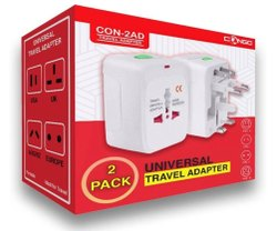 White ABS Plastic Congo CON-AD Universal Travel Adapter Pack