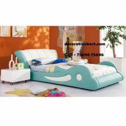 DecorativeKart Leather Foam Wood Wooden Kids Bed