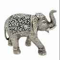 Metal Silver Plated Elephant Statue For Decoration & Corporate Gift