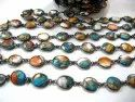 Natural Oyster Copper Turquoise Chain Free Shape Briolette 10to13mm