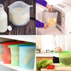 Silicone Food Bag Sealer Milk Fruit Meat Storage Bags Fridge Food Storage Containers