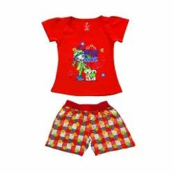 Red Half Sleeve Kids Girls Top And Hot Pant Set
