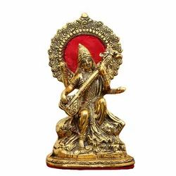 Gold Plated Saraswati Statue For Home Pooja , Decoration & Corporate Gift