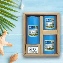 Auradecor Set Of 3 Fragrance Pillar  Candles ( Ocean Breeze )