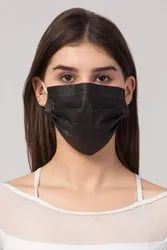 Black 3 Ply Disposable Surgical Face Masks with Nose Clip