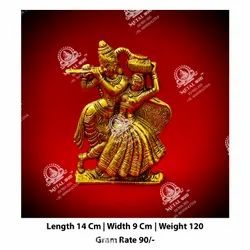 Golden Radha Krishna God Statue