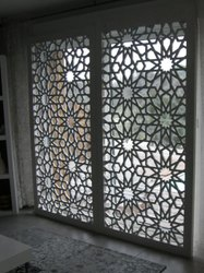 White Laser Cut MDF Jali, For Decoration