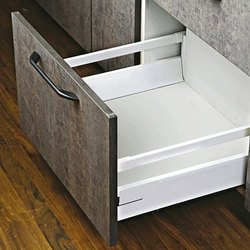 SLIMLINE Tandem Drawer Box System With Gallery with Load Capacity Upto 45 Kg (White, 500mm/6 Inch)
