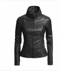 Full Sleeve Handmade Slim Fit Black Leather Women's Jacket