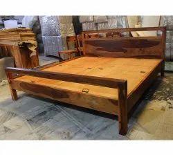 Sheesham Modern Wooden Bed, Size: King Size