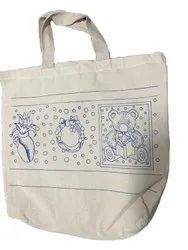 White Printed Cotton Shopping Carry Bag