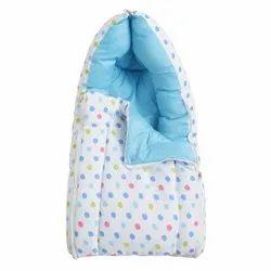 Sky Blue Dot Printed Cotton Baby Sleeping Bag, 6months