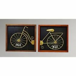 Unique and Amazing Metal Bicycle Shaped Design on Wooden Wall Hanging in 2 parts