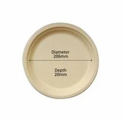 Chuk Light Brown 9 Inch Round Bagasse Disposable Plate