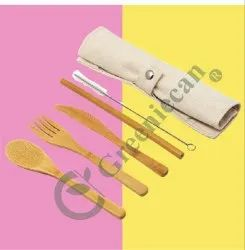 Brown Reusable Bamboo Cutlery Set, For Travel