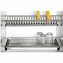 Slimline Steel Kitchen Dish Rack Drainer For Cabinet Width 90 Cm