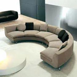 Wooden Modern Designer Corner Round Sofa, For Home, Bedroom