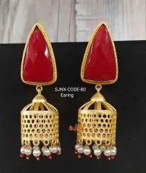 Copper Red Fancy Trendy Earrings For Women