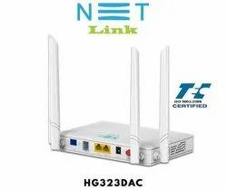 Wireless or Wi-Fi White Netlink GPON ONT 2GE+1POTS+ac WIFI (HG323DAC), 2 X 10/100/1000mbps