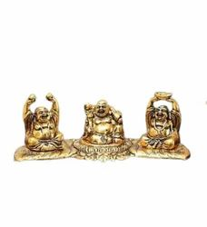 Gold Plated Laughing Buddha 3 Statue For Home Decoration & Corporate Gift